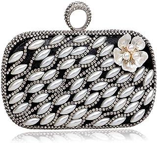 Fine Bag/Women's Banquet Bag Pearl Flower Clutch Bag Party Bag Banquet Bag (Color : Black, Size : One Size)