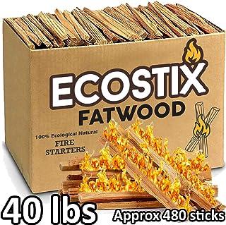 Eco-Stix ファットウッドファイヤースターター 薪用スティック - バルクパッケージ ファイアスターター - 100%天然樹脂オコテパイン材 - ウッドストーブ 暖炉 ハート ファイアピット キャンプに最適