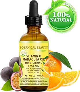 VITAMIN C MARACUJA Oil. Moisturizing Face Oil. Anti-aging, regenerating and nourishing. 20% Vitamin C and 100% Pure Maracuja Oil. 1 Fl. Oz - 30 ml. by Botanical Beauty.