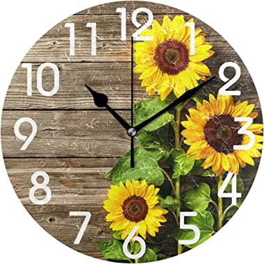 Naanle 3D Stylish Print Round Wall Clock, Battery Operated Quartz Analog Quiet Desk Clock for Home,Office,School, Wood, #Colo