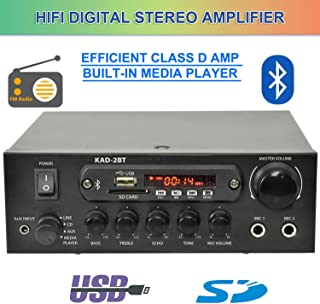 Class D Digital Stereo Amplifier with Bluetooth HiFi/FM Radio / MP3 / Karaoke 200W 2xMIC