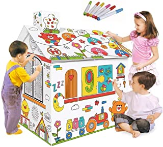 AM ANNA DIY Large Cardboard Coloring Creative Crafts Play House, 2.2 Feet Tall Project Assemble and Paint Educational Toys