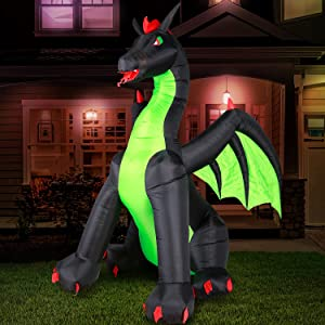 Holidayana Halloween Dragon Inflatable Decor - 9 ft Halloween Dragon Inflatable Yard Decoration with Super Bright Internal Lights, Built-in Fan, and Anchor Ropes
