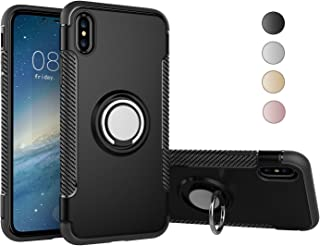Nicwea Soft iPhone Case Double Defense Shock Resistant Scratch Resistant Cover with 360 Degree Swivel Ring for Apple iPhone (Black, iPhone 7 Plus / 8 Plus)