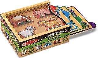 Melissa & Doug Animals Wooden Mini-Puzzle-Pack (Four 4-Piece Puzzles With Storage Case)