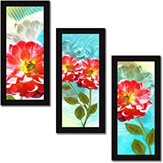 Printelligent Set of 3 Wall Painting with Frames Floral Painting Wall Art Hanging Design-E