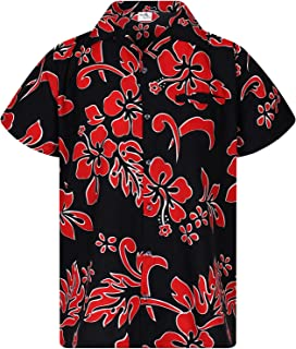 Hawaiian Shirt for Men Funky Casual Button Down Very Loud Shortsleeve Unisex Hibiscus