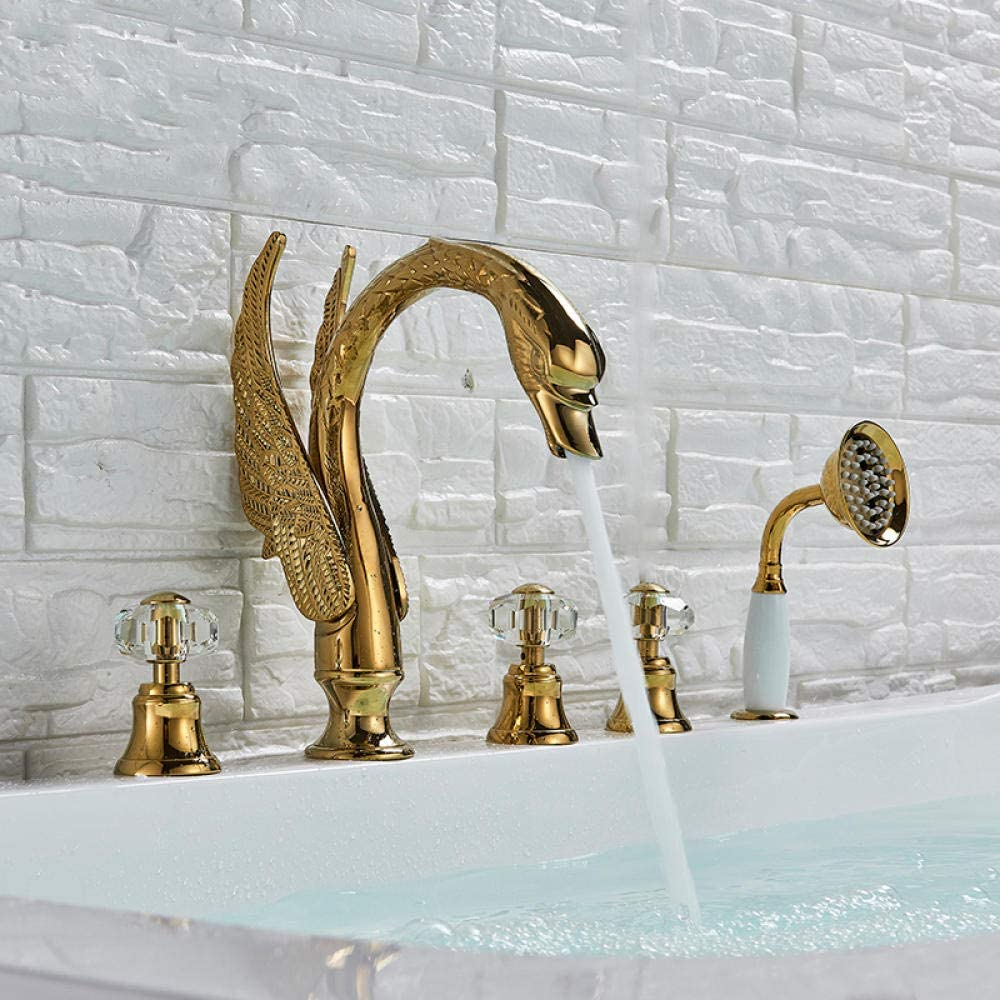 Crystal Knob Swan Golden Bathtub Faucet 5 Deck Mounted Opening large release sale Holes Wid Mail order cheap