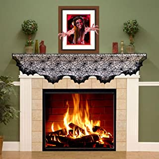 Aytai Black Lace Bats Fireplace Mantel Scarf Unique Fan-Shaped Edge Spiderweb Fireplace Mantle Scarves Cover for Spooky Halloween Fireplace Decoration Prop Party Décor, 80inch X 20inch