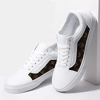 Vans White Old Skool x Brown Pattern Custom Handmade Shoes By Fans Identity