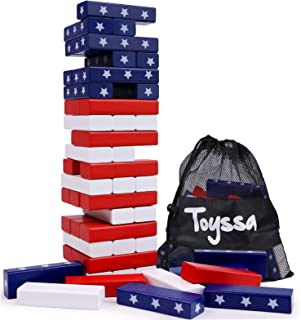54 Pieces Wooden Blocks Stacking Board Games American US Flag Building Blocks for Kids Adults Families