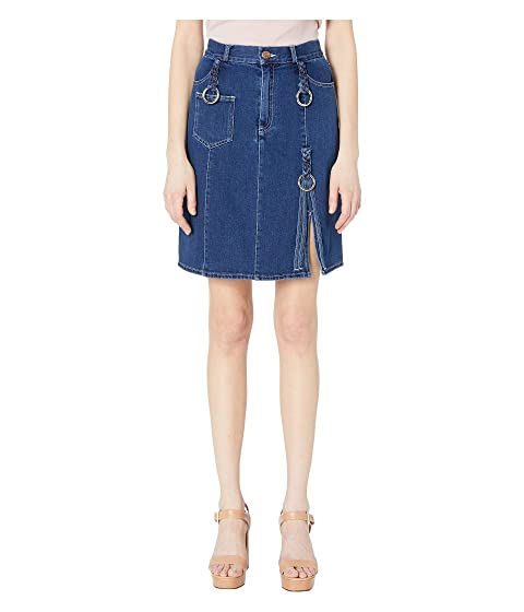 dfc8daa32e16c See by Chloe Denim Skirt with Braids at Luxury.Zappos.com