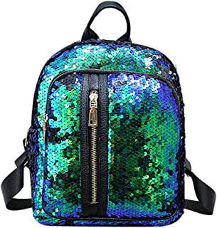 Women Girl Sequins Backpack Small Leather Shoulder Bag Travel Daypack