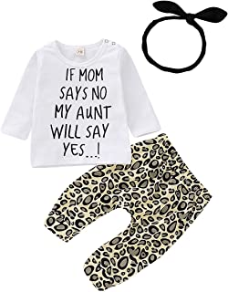 Toddler Baby Girl Leopard Outfit Clothes Letter White Tops Shirts + Long Legging Pant with Headband Clothing Set