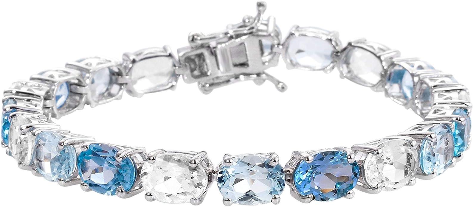 Details about  / Natural Multi Tourmaline Gemstone 925 Sterling Silver Colorful Tennis Bracelet