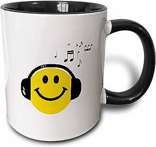 3dRose 3dRose Music loving yellow smiley face with black headphones and musical notes - happy dj - deejay - Two Tone Black Mug, 11oz (mug_112819_4), Black/White