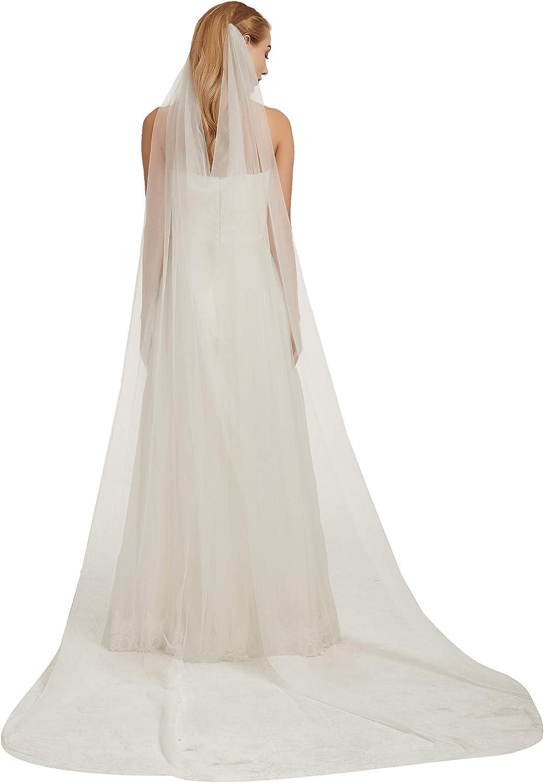 Bridal Veil Bohemian Soft 1 Tier Soft Tulle Cathedral Wedding Lace Veil Church Wedding Veil B027