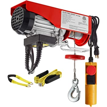 Amazon Com Partsam 440 Lbs Lift Electric Hoist Crane Remote Control Power System Zinc Plated Steel Wire Overhead Crane Garage Ceiling Pulley Winch W Straps W Emergency Stop Switch Home Improvement