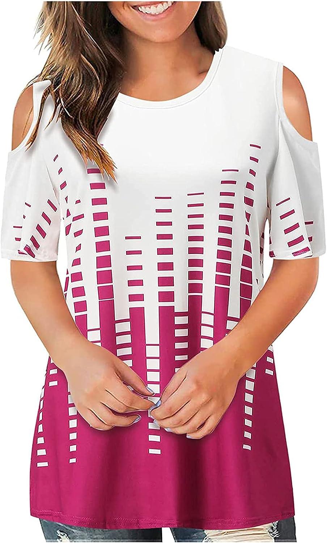 Womens Tops Gradient Print Short Sleeve Crewneck T Shirts Cold Shoulder Summer Trendy Casual Blouses