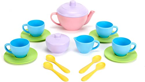 Green Toys TEA01R Tea Set,Pink/Yellow, 15 Pieces
