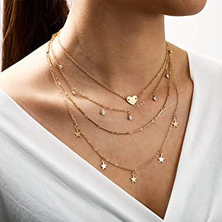 YERTTER Vintage Punk Multi layer Heart Star Pendant Necklace Crystal Choker Boho Jewelry Chain for Women and Girls