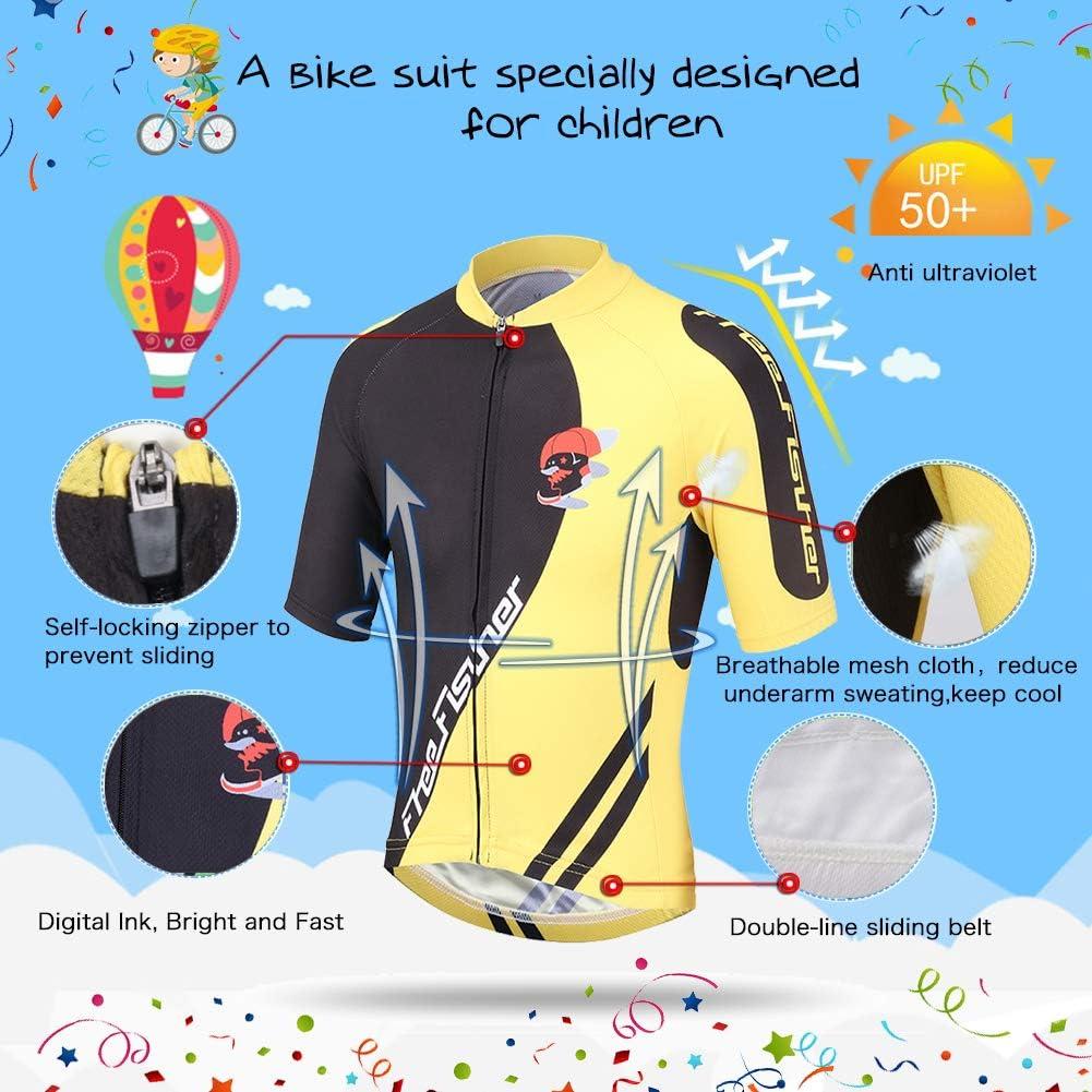 LSHDCER Combinaison de cyclisme respirante pour enfants short rembourr/é 3D Unisexe Maillot /à manches courtes