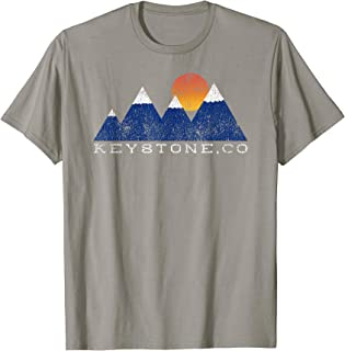 Retro Keystone Colorado Snowcap Mountain Sunset T-Shirt
