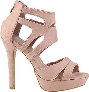Stiefelparadies Damen Sandaletten High Heels mit Pfennigabsatz Basic Hochzeit Abiball Flandell