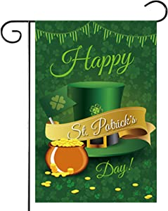 Roninkier St-Patricks Day Garden Flag - Vertical Double Sided Polyester Green Yard Flags, Shamrocks Hat Gnomes Beer Gold Pot Holiday Decorative Flag 12.5 X 18 Inch(Hat) …