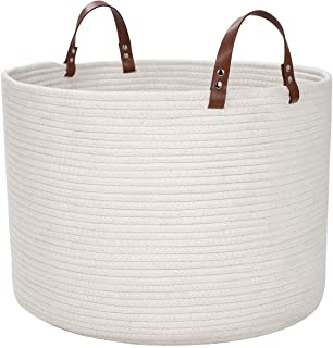 DOKEHOM XX-Large Storage Baskets -21.7 Inches(D) x 13 Inches(H)- Cotton Rope Basket Woven Baby Laundry Basket with Leather Handle for Diaper Toy Cute Neutral Home Decor (White, XXL)