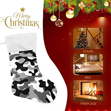 """One Bear Christmas Stockings, Charcoal Black White Grey Camo Gloves Clothes Hat Cuff Stockings Plush Faux Fur 17"""" Firepla"""