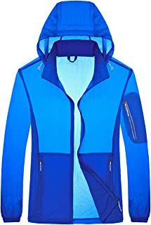Yifun Outdoor Mens Lightweight Rain Jacket Quick Dry Windbreaker with Hideaway Hood