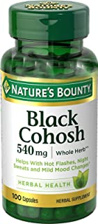 Herbal Health Black Cohosh Nature's Bounty 540 mg 100 Capsules Natural Whole Herb Menopause Relief