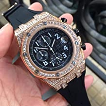Luxury Brand Top high Japanese Quartz Chronograph Watch Watches Gold case Decorated with Stones Black dial and Rubber Strap