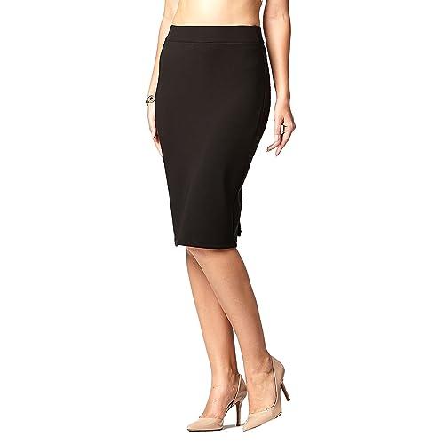 e918b6217ef00a Premium Women's Pencil Skirt - Elastic Waist - Stretch Bodycon Midi Skirt -  Many Colors