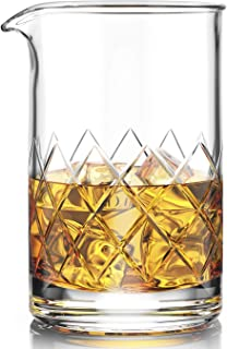 Premium Cocktail Mixing Glass - Seamless Lead-Free Crystal - Thick Weighted Bottom - 18oz 550ml - Choice for Amateurs & Pros - Ideal Gift