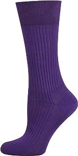 Mysocks, 100% mercerizado de algodón egipcio calcetines lisos Púrpura