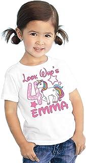 Look Whos Girls Kids Youth My Little Unicorn Pony Personalized Birthday T Shirt Tee Custom Name Age Cute Magic Gift Ideas