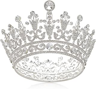 SWEETV Luxury Full Round Crystal Queen Crown Rhinestone Bridal Tiara Pageant Prom Wedding Hair Jewelry