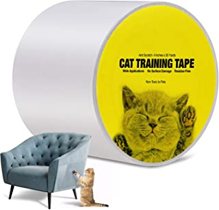 Kohree Anti Cat Scratch Tapes, Double Sided Sticky Tape for Cats Furniture Protector Cat Training Tape from Cats, Anti Scratch Pads for Furniture Clear, Curtain, Carpet, 4 Inches x 30 Yards