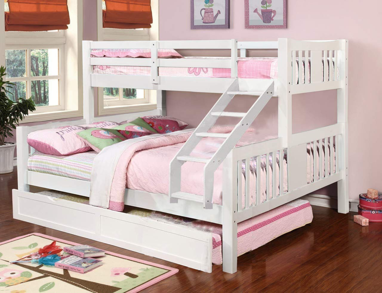 Aprodz Ashmo White Twin Over Queen Bunk Bed With Trundle Amazon In Furniture