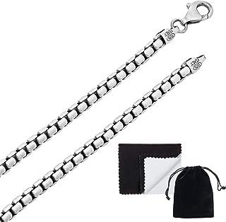 قلادة رجالية مربعة الشكل مطلية بالفضة 3.5 مم مربعة الشكل من الفضة عيار 3.5 مم + قطعة قماش مجوهرات وحقيبة
