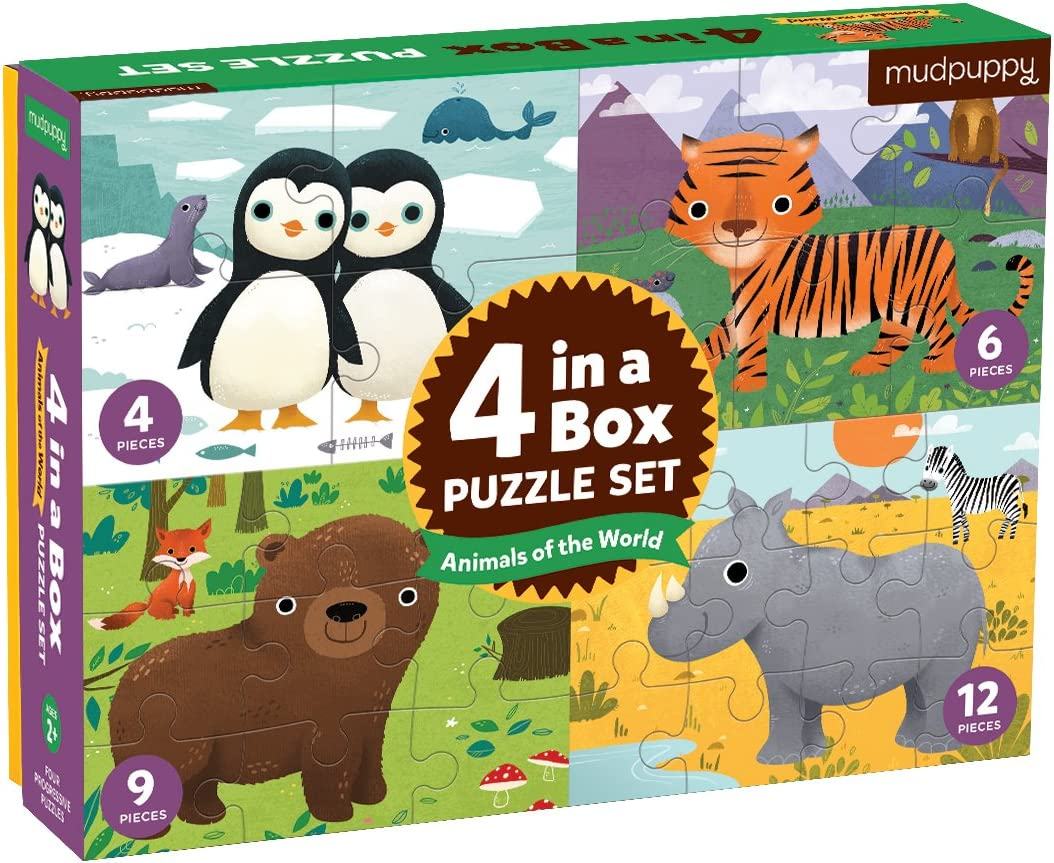 Mudpuppy Animals of The World 4-in-A-Box Puzzles, Ages 2-5, 4-Pi
