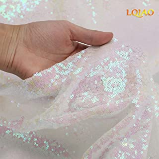 Changed White Sewing Sequin Fabric Sequin Lace Fabric Sold By the Yard for Costumes Sequin Knit Fabric, Tablecloth, Table Runner, Sequin Backdrop Wedding Dress Decorations(1 yard)