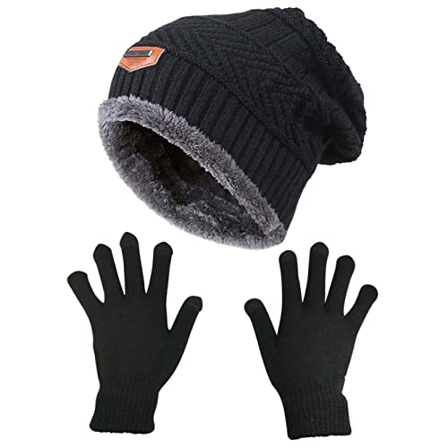 HINDAWI Slouchy Beanie Gloves for Women Winter Hat Knit Warm Snow Skull Cap  Touch Screen Mittens ae0cd839525a