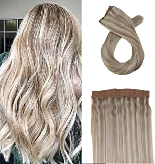 USColorful world 22 Inch Color #613 Bleach Blonde One Piece Wire Hair Extension Invisible Halo Hair Extensions Human Hair ...