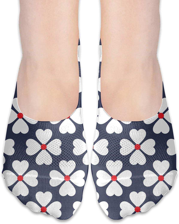 White Heart Four Petal Comfortable Boat Socks-Sweat Wicking Non-Slip Socks Leisure Sports Deodorant Foot Socks
