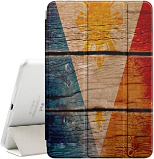 FJCases Philippines Filipino Flag Wood Smart Cover Stand + Back Case with Auto Sleep/Wake Function for Apple iPad 2017 (9.7