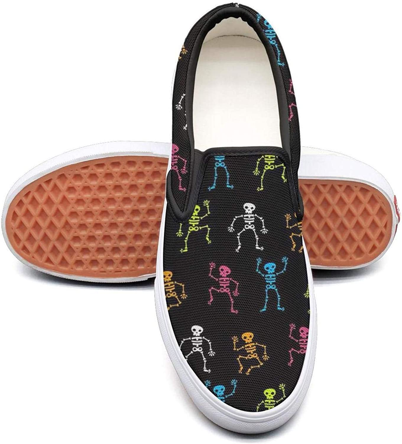 colors Dancing Skull Skeleton Slip On Canvas Upper Loafers Canvas shoes for Women Comfortable