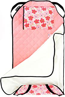 Urban Infant Tot Cot All-in-One Modern Preschool/Daycare Nap Mat with Washable Pillow and Elastic Corner Straps | 52 x 22 Inches - Poppies